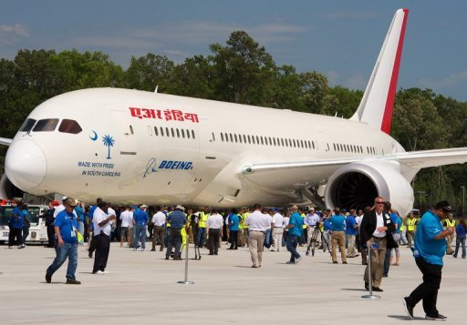A new Boeing 787 Dreamliner being built for Air India is seen during roll-out ceremonies