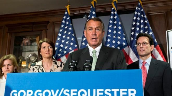House Speaker John Boehner of Ohio met with reporters on Capitol Hill to discuss the looming sequester on Feb. 26.