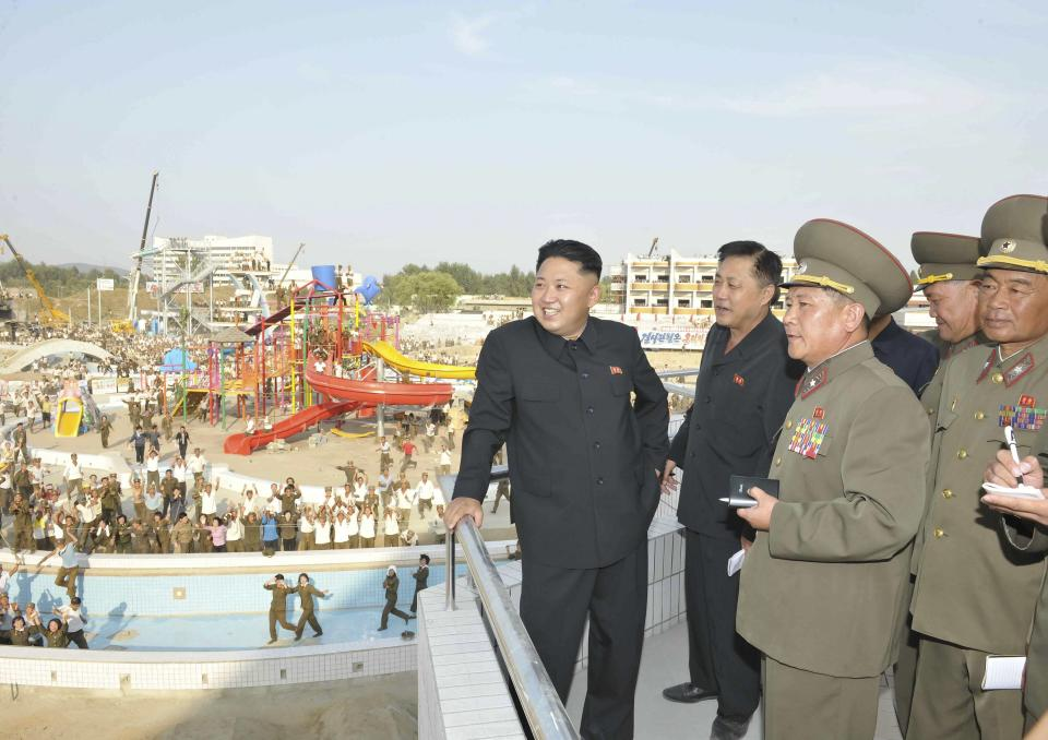 North Korean leader Kim Jong-Un inspects the construction site of the Munsu Swimming Complex