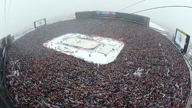 A general view from the roof of Michigan Stadium during the 2014 Winter Classic between the Detroit Red Wings and the Toronto Maple Leafs (Noah Graham/NHLI/Pool Photo via USA TODAY Sports/Reuters)