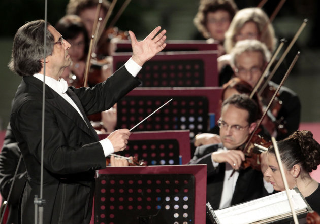 FILE - This May 11, 2012 file photo shows Riccardo Muti, conducts his orchestra during a concert to celebrate Pope Benedict XVI&#39;s Pontificate at the Vatican. Muti, the master conductor, is sounding an ominous note, and it is not rising from the orchestra pit. Maestro Muti is worried that the stubborn financial crisis in much of the world risks impoverishing not just public coffers but also the arts, whose budgets, often lean in good economic times, are among the biggest casualties in many countries. (AP Photo/Gregorio Borgia, files)