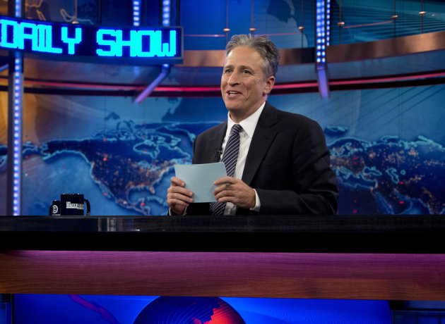 FILE - This Oct. 18, 2012 file photo shows host Jon Stewart during a taping of &quot;The Daily Show with John Stewart&quot;, in New York. Comedy Central says Jon Stewart will take a break from &quot;The Daily Show&quot; starting in June to direct and produce his first feature film. The network said Tuesday, March 5, 2013 that correspondent-writer John Oliver will host the fake news show for the eight weeks of original episodes scheduled during Stewart&#39;s hiatus. The British-born Oliver has been a &quot;Daily Show&quot; regular since 2006. (AP Photo/Carolyn Kaster, file)