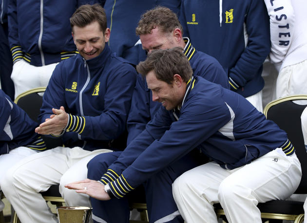BIRMINGHAM, ENGLAND - APRIL 04: Ian Bell of Warwickshire (R) shares a joke with Director of Cricket Dougie Brown (C) during a Warwickshire CCC Photocall at Edgbaston on April 04, 2013 in Birmingham, E