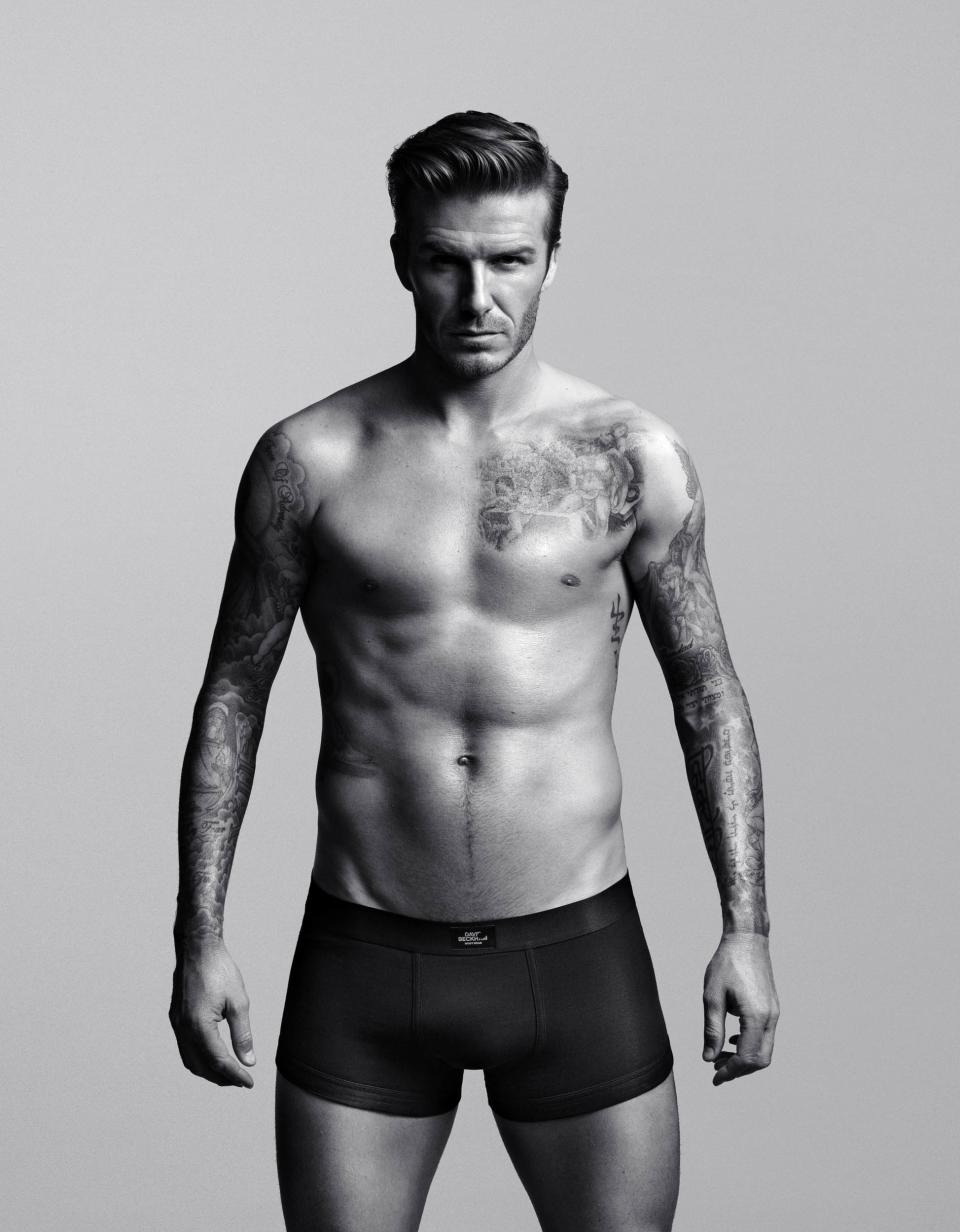 FILE - This undted photo provided by H&M shows a look from the collection created and modeled by David Beckham. Beckham is retiring from soccer, ending a career in which he transcended the sport with forays into fashion and a marriage to a pop star that made him a global celebrity. (AP Photo/H&M, Alasdair McLellan)