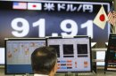 A currency trader works at a foreign exchange company in Tokyo,Tuesday, Feb. 26, 2013. In currency markets, the dollar was down 0.7 percent to 91.92 yen. But the yen, which has fallen by about 20 percent in recent weeks, is still much weaker than it was for most of last year. (AP Photo/Koji Sasahara)