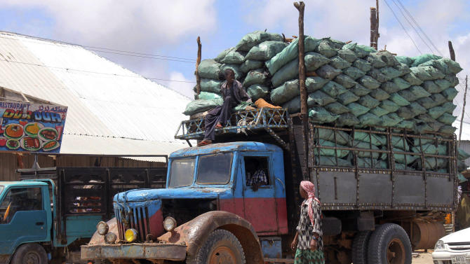 """In this photo of Tuesday Oct. 30, 2012 a Somali charcoal truck loaded with sacks of charcoal arrive in Mogadishu. Thousands of sacks of dark charcoal sit atop one another in Somalia's southern port city of Kismayo, an industry once worth some $25 million dollar a year to the al-Qaida-linked insurgents who controlled the region.  The good news sitting in the idle pile of sacks is that al-Shabab militants can no longer fund their insurgency through the illegal export of the charcoal. Kenyan troops late last month invaded Kismayo and forced out the insurgents, putting a halt to the export of charcoal, a trade the U.N. banned earlier this year in an effort to cut militant profits. The loss of the charcoal trade """"will cut a major source of revenue and thus will have a detrimental effect on their operational capacity to carry out large scale attacks,"""" Mohamed Sheikh Abdi, a Somali political analyst, said of al-Shabab.  But the flip side to the charcoal problem is that residents who made their living from the trade no longer are making money, a potentially tricky issue for the Kenyan troops who now control the region.  (AP Photo/Farah Abdi Warsameh)"""
