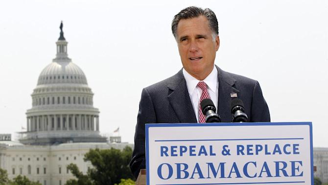 FILE - In this June 28, 2012 file photo, Republican presidential candidate Mitt Romney speaks about the Supreme Court ruling on health care in Washington. Worried about the economy? The rising cost of health insurance? The burgeoning federal debt?  Yup, the presidential candidates have a bullet point for that. But despite Republican Mitt Romney's 59-point jobs plans, President Barack Obama's 64-page blueprint for change and both candidates' lofty policy speeches, voters still sense something's missing. (AP Photo/Charles Dharapak, File)