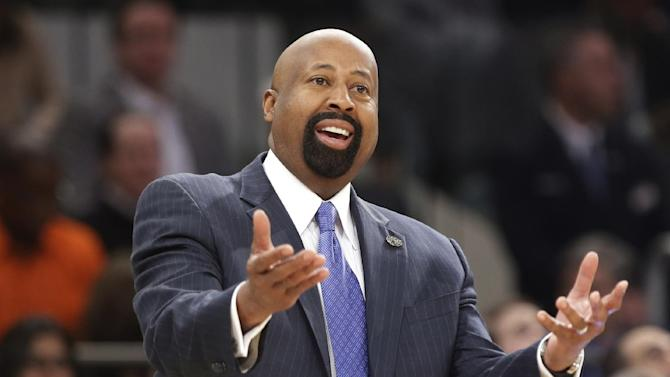 "In this April 4, 2014 file photo, New York Knicks head coach Mike Woodson reacts to a call during the first half of an NBA basketball game against the Washington Wizards, in New York. The Knicks have fired Woodson after falling from division champions to out of the playoffs in one season. New team president Phil Jackson made the decision Monday, April 21, 2014, saying in a statement ""the time has come for change throughout the franchise."""