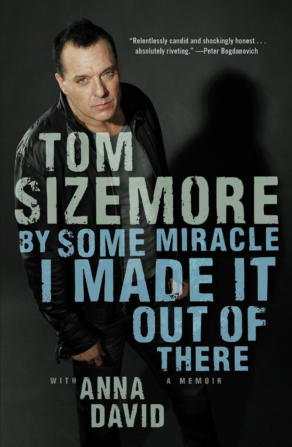 "This book cover image released by Atria shows ""By Some Miracle I Made it Out of There,"" a memoir by Tom Sizemore with Anna David. (AP Photo/Atria)"