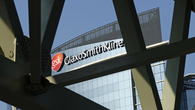 FILE - In this April 20, 2009 file photo, a sign for British pharmaceuticals firm GlaxoSmithKline is seen on its offices, in London. On Thursday, May 9, 2013, the GAVI Alliance, a public-private partnership that's worked with drugmakers to deliver affordable vaccines to poor countries to treat childhood illnesses, announced a program that will team multinational drugmakers  Merck & Co. and GlaxoSmithKline  with top global health groups to protect millions of girls in the world's poorest countries from deadly cervical cancer. Merck & Co. and GlaxoSmithKline PLC initially will provide 2.4 million doses of their vaccines against cancer-causing human papilloma virus, for a fraction of the cost commanded in Western countries. Merck will supply its Gardasil for $4.50 per dose, and Glaxo its Cervarix for $4.60 per dose. In the U.S., the shots cost well over $100 apiece, and a three-dose series over six months is required. (AP Photo/Sang Tan)