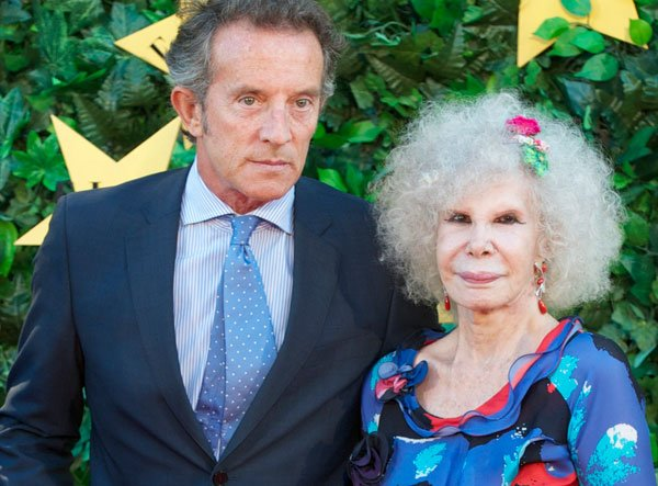 Duchess of Alba, Cayetana Fitz-James Stuart and Alfonso Diez attend ELLE Awards 25th Anniversary at the Matadero cultural center on June 30, 2011 in Madrid, Spain. (Photo by Carlos Alvarez/Getty Images)