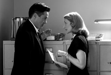 Robert Downey Jr. and Patricia Clarkson as Jenny Darmondy in Warner Independent Pictures' Good Night, And Good Luck.