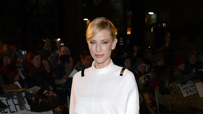 """Actress Cate Blanchett arrives at the UK premiere of """"The Hobbit: An Unexpected Journey"""" at The Odeon Leicester Square, London on Wednesday, Dec. 12, 2012. (Photo by Jon Furniss/Invision/AP)"""