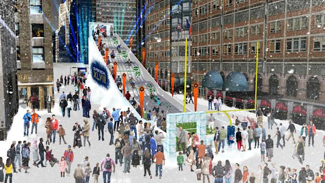 "FILE - In this undated artist's rendering provided by the National Football League, a proposed toboggan slide is set up in Times Square in New York. A stretch of Broadway from 34th Street to 48th will be closed to traffic, renamed ""Super Bowl Boulevard,"" and converted into a rollicking theme park, merchandise shop and concert venue. (AP Photo/National Football League, File)"
