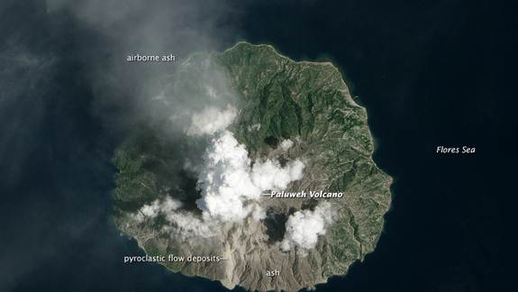 Satellite Spots Recent Eruption at Indonesia's Paluweh Volcano