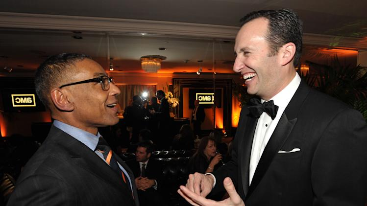 IMAGE DISTRIBUTED FOR AMC - Giancarlo Esposito, left, and AMC president Charlie Collier attend the AMC Golden Globes Party on Sunday, Jan. 13, 2013 in Beverly Hills, Calif. (Photo by John Shearer/Invision for AMC/AP Images)