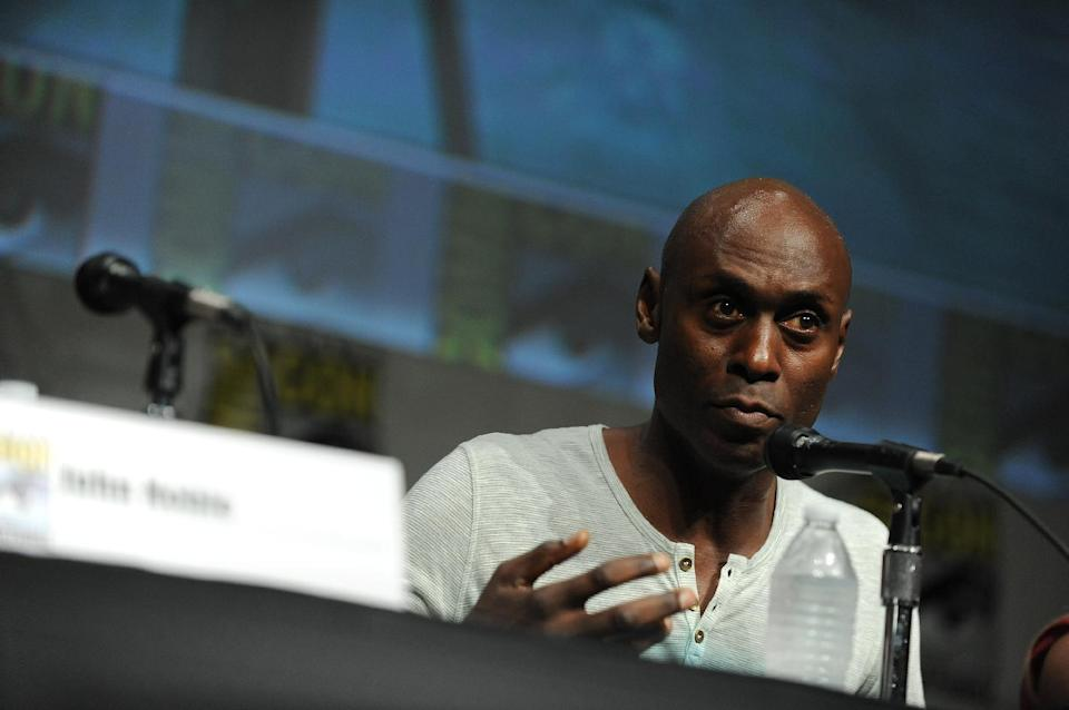 "Lance Reddick speaks at the ""Fringe"" screening and panel at Comic-Con on Sunday, July 15, 2012 in San Diego. (Photo by Jordan Strauss/Invision/AP)"