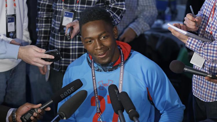 Tennessee Tech receiver Da'Rick Rogers answers a question during a news conference at the NFL football scouting combine in Indianapolis, Friday, Feb. 22, 2013. (AP Photo/Michael Conroy)