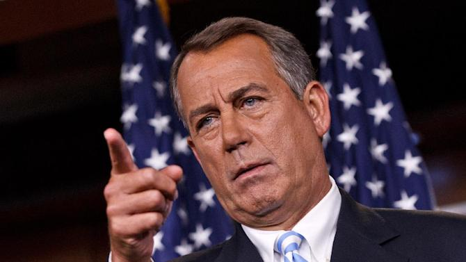 House Speaker John Boehner of Ohio meets with reporters on Capitol Hill in Washington, Thursday, July 26, 2012.  (AP Photo/J. Scott Applewhite)