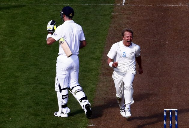 New Zealand's Wagner celebrates after dismissing England's Pietersen for a duck during the second day of the first test at the University Oval in Dunedin