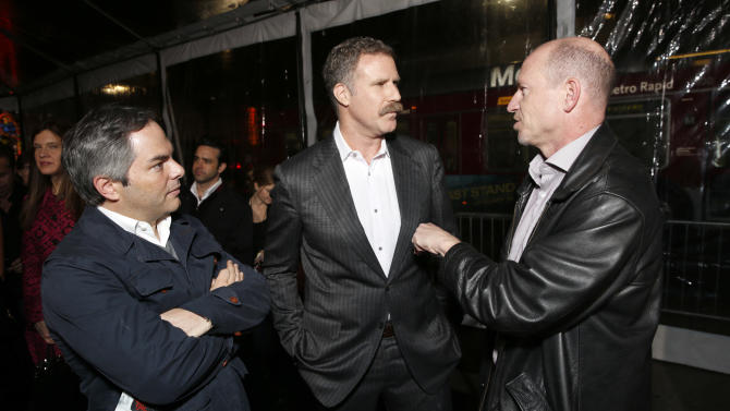 """President/ Paramount Film Group Adam Goodman, actor/producer Will Ferrell and Vice Chairman of Paramount Pictures Corporation Rob Moore arrive at the premiere of """"Hansel & Gretel Witch Hunters"""" on Thursday Jan. 24, 2013, in Los Angeles.  (Photo by Todd Williamson/Invision/AP)"""