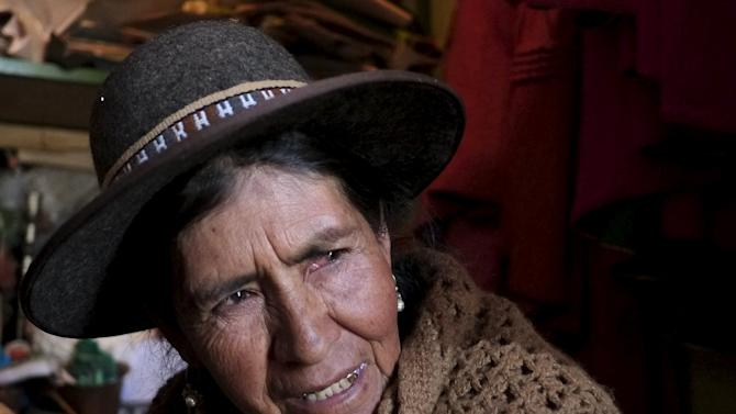 Luisa Quispe, a self-described witch, talks during an interview with Reuters in El Alto