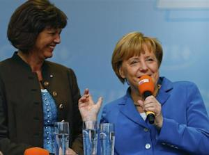 German Chancellor Merkel arrives for a Christian Democratic Union election campaign meeting in Miesbach
