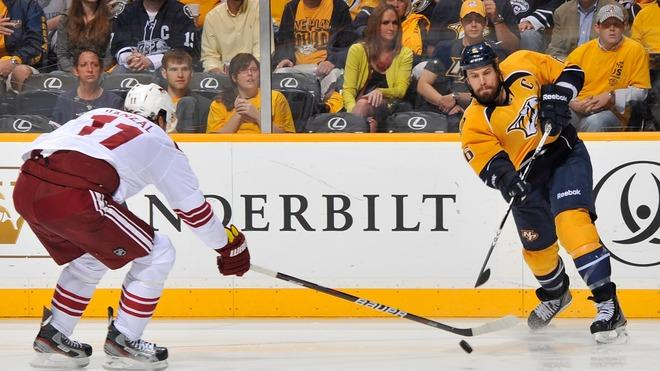 Shea Weber #6 Of The Nashville Predators Passes The Puck Under The Stick Of Martin Hanzal #11 Of The Phoenix Coyotes Getty Images
