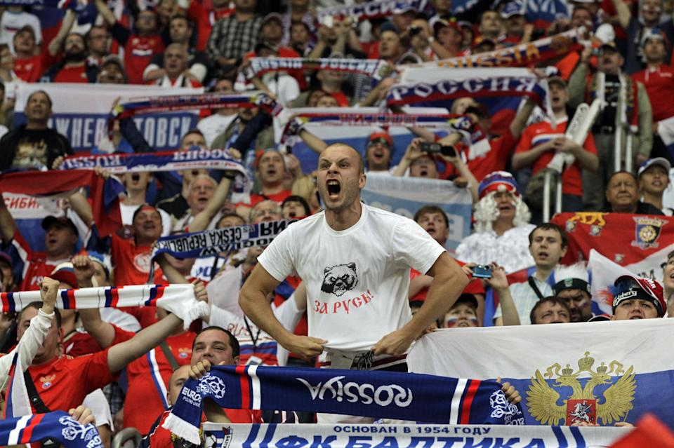 Russian fans cheer before the Euro 2012, Group A soccer match between Russia and Czech Republic, in Wroclaw, Poland, Friday, June 8, 2012.  (AP Photo/Sergey Ponomarev)