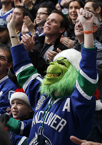 The Grinch in a Vancouver Canucks NHL jersey