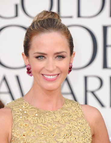 Actress Emily Blunt arrives at the 70th Annual Golden Globe Awards at the Beverly Hilton Hotel on Sunday Jan. 13, 2013, in Beverly Hills, Calif. (Photo by Jordan Strauss/Invision/AP)