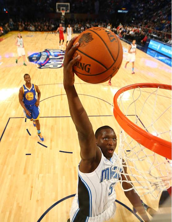 Team Webber's Victor Oladipo of the Orlando Magic heads to the hoop against Team Hill during the Rising Star NBA All Star Challenge Basketball game, Friday, Feb. 14, 2014, in New Orleans