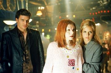 David Boreanaz as Angel, Alyson Hannigan as Willow and Sarah Michelle Gellar as Buffy on Buffy The Vampire Slayer