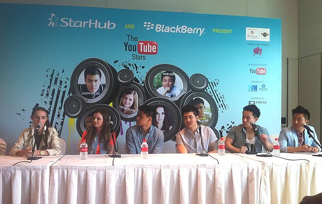 Youtube Stars - from left - Ana Free, Tiffany Alvord, Clarence Liew, Joseph Vincent, Jason Chen, and David Choi  (Yahoo! Photos / Elizabeth Soh