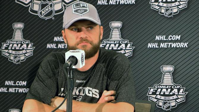 Los Angeles Kings' Marian Gaborik takes questions from the media at a news conference in El Segundo, Calif., Thursday, June 5, 2014. Los Angeles Kings beat the New York Rangers 3-2 on Wednesday night in the Stanley Cup finals opener. Game 2 is Saturday at Staples Center