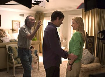 Director James L. Brooks , Adam Sandler and Tea Leoni on the set of Columbia Pictures' Spanglish