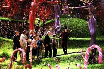 Willy Wonka ( Johnny Depp ) leads the tour of the chocolate room in Warner Bros. Pictures' Charlie and the Chocolate Factory