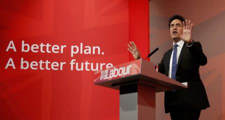 Britain's opposition Labour Party leader Ed Miliband gestures at an election campaign event in north London
