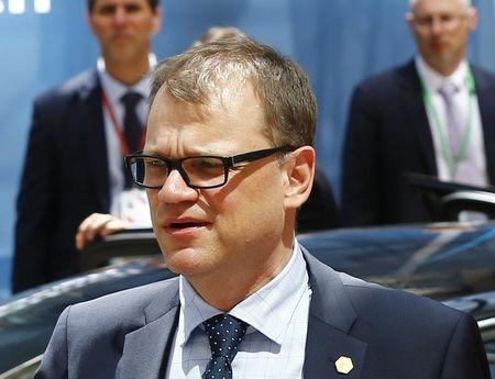 Finnish Prime Minister Sipila arrives at EU Council headquarters for EU leaders summit in Brussels