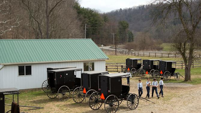 Amish boys walk to the school house for their final day of class in Bergholz, Ohio on Tuesday, April 9, 2013. (AP Photo/Scott R. Galvin)