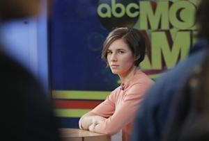 Amanda Knox waits on a television set for an interview, …