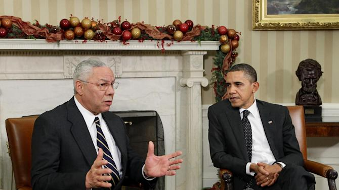 "FILE - In this Dec. 1, 2010 file photo, former Secretary of State Colin Powell meets with President Barack Obama, in the Oval Office at the White in Washington. Powell is declining to renew the endorsement he gave Barack Obama four years ago, when he called Obama ""a transformational figure."" Pressed in a network interview to say whether he's backing Obama, the former chairman of the Joint Chiefs of Staff demurred Tuesday.  (AP Photo/J. Scott Applewhite, File)"