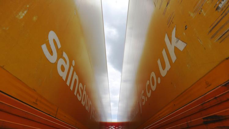 Sainsbury's supermarket trailers are seen parked at the new Sainsbury's distribution centre at Thameside in east London