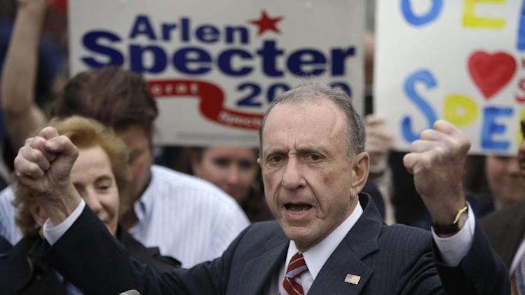 FILE - In this May 17, 2010 file photo, Sen. Arlen Specter, D-Pa., speaks at the Citizens Bank Park, in Philadelphia, as he campaigns across Pennsylvania for the Democratic nomination to run for re-election. Former U.S. Sen. Arlen Specter, longtime Senate moderate and architect of one-bullet theory in JFK death, died Sunday, Oct. 14, 2012.  He was 82. (AP Photo/Carolyn Kaster, File)
