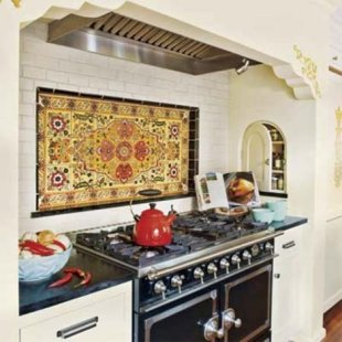 Stove alcove backsplash