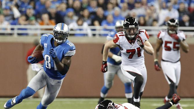 Detroit Lions wide receiver Calvin Johnson (81) breaks away from Atlanta Falcons defensive back Dominique Franks (29) during the third quarter of an NFL football game at Ford Field in Detroit, Saturday, Dec. 22, 2012. (AP Photo/Duane Burleson)