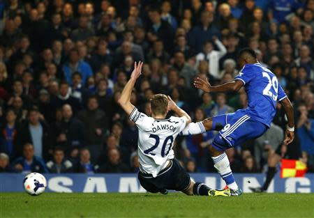 Chelsea's Eto'o scores a goal against Tottenham Hotspur during their English Premier League soccer match at Stamford Bridge in London