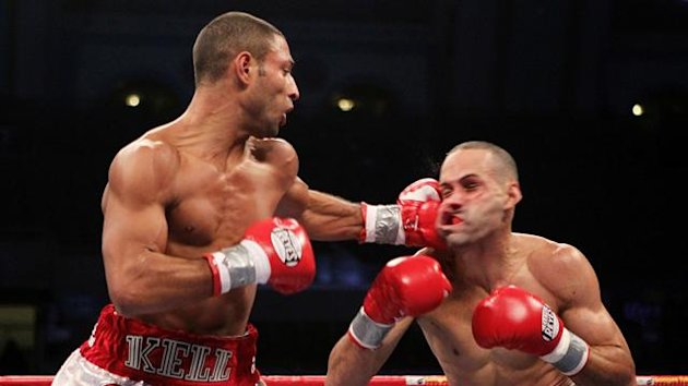 Kell Brook of England lands a left on Luis Galarza during their Welterweight bout at Boardwalk Hall on December 17, 2011 in Atlantic City, New Jersey