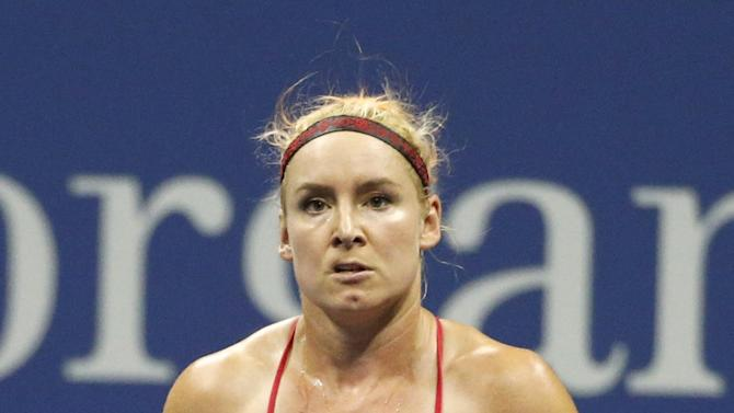Mattek-Sands of the U.S. reacts during her match with Williams of the U.S. in their match at the U.S. Open Championships tennis tournament in New York