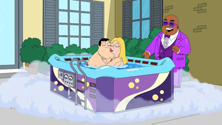"Cee Lo Green (guest-voicing as himself) watches over Stan when he buys a hot tub in the ""Hot Water"" season premiere episode of ""American Dad."""
